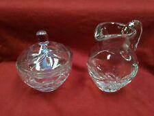 Gorham Full Lead Crystal Covered Sugar Bowl & Creamer Set