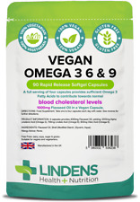 Lindens Vegan Omega 3 6 & 9 1000mg 90 Capsules Specially formulated for Vegans