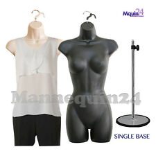 2 MANNEQUINS: FLESH & BLACK FORMS + 1 STAND + 2 HANGERS FEMALE DRESS CLOTHING