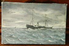 Ancien petit tableau  huile sur toile  voilier marine bateau      17,5 x 27 cm