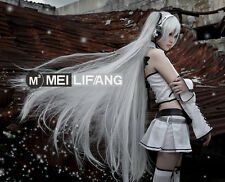 Vocaloid Miku Long Straight Cosplay Wig Silver White 120cm Clip Ponytails