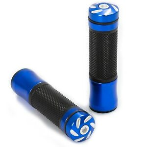 1 Pair Handle Bar End Grips Motorcycle Non Slip Rubber Universal A-Pro Blue