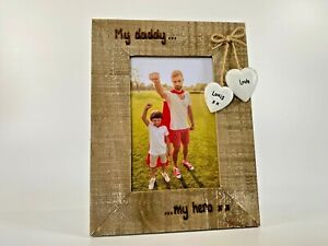 My Daddy My Hero Father's Day Birthday Dad   Personalised Driftwood Photo Frame
