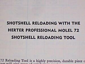 Herters: RELOADING INSTRUCTIONS for Model 72 Shotshell Reloading Tool