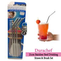 Stainless Steel Drinking Straws & Brush Set DuraChef 21cm Reusable Sustainable