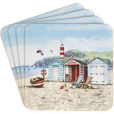 New Sandy Bay Design Set of  Four  Coasters- Nautical Beach Hut Boat Seagulls