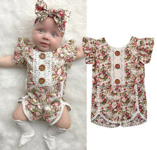 Toddler Baby Girls Lace Ruffled Romper Bodysuit Jumpsuit Outfits Clothes Sunsuit