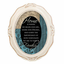 Home Is Where We Begin Life Ivory Wavy 5 x 7 Oval Table Top and Wall Photo Frame