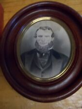 Antique Oval Wood Picture Frame w Old Glass & Old Photograph of 1800s man rare