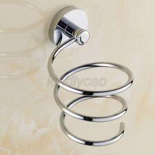 Chrome Brass Bathroom Wall Mounted Spiral Hair Dryer Blower Holder Rack Kba621