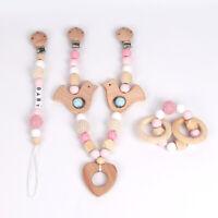 Heart Bird Beech Wooden Beads Stroller Chain Baby Teething Pacifier Clip Rattle