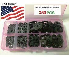 350PCS Nylon Flat Washer For M2 M2.5 M3 M4 M5 M6 M8 Screw Bolt(Black)
