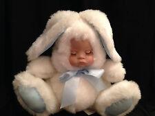HouseOf Lloyd Porcelain Baby Face Snow Bunny Plush Xmas Musical Movable Vtg 1992