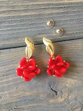 Oscar De La Renta  Red  Flower Earrings signed
