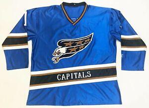 Vintage Starter Washington Capitals #1 NHL Hockey Jersey Adult L Blue Sewn