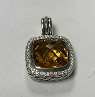 David Yurman Sterling Silver/18k Gold Diamond Albion Citrine Pendant