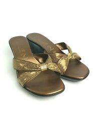 Italian Shoemakers Womens 9-9.5 Gold Wedge Slide Sandal Bronze Metallic Summer