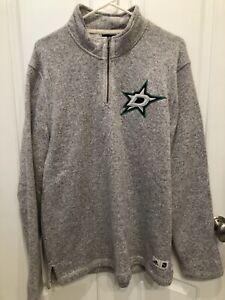 Dallas Stars Adidas 1/4 Zip Fleece Pullover Gray Mens Large
