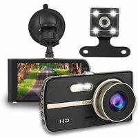 "4"" Car Camera Dual Dash Cam Front and Rear Night Vision G-sensor 170 Wide Angle"
