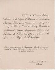 1934 Faire-part mariage Pierre de THOISY & Germaine de PEYTES de MONTCABRIER.