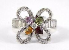 Fine Multi-Color Sapphire & Diamond Flower Fashion Ring 18k White Gold 2.16Ct