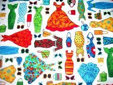 """SALE!   DRESS UP CLOTHES 4 PAPER DOLLS - COTTON SOLD BY FAT QUARTER (18"""" X 21"""")"""