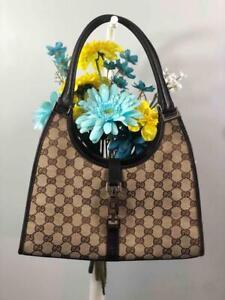 GUCCI Jackie GG Brown/ Beige Monogram Canvas w. Leather Trims Hobo Shoulder Bag