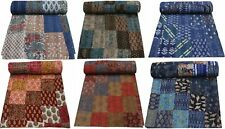 Vintage Kantha Quilt Bedspread Patchwork Blanket Bedding Throw Handmade Cotton