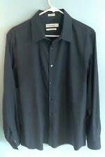 Men's Calvin Klein Non-Iron Long Sleeve Button Front Dress Shirt Sz L Large Blue