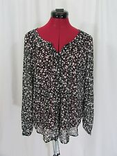 Old Navy Black Floral Long Sleeve Button Front Shirt Size M