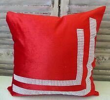 Red cushion cover with sparkling rhinestones 45 x 45