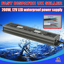 200W DC12v Waterproof Transformer Power Supply Adapter LED Lights16.7A UK Stock