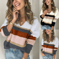 Women Knitted Patchwork Hollow Hoodie Sweater Ladies Casual Jumper Pullover Tops