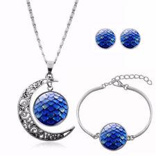 Schmuckset Mond Sonne Sterne dunkelblau Ohrstecker Armband Anhänger mit Kette