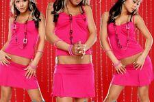 SeXy Miss Damen 2 Teiler Mini Rock Top Schleifen Dekollette M/L 36/38 pink neu