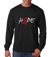 Long Sleeve Hope T Shirt AIDS HIV Awareness Month T-Shirt Support Red Ribbon Tee