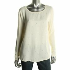 TOMMY HILFIGER NEW Ivory Stretch Rhinestone Long Sleeves Pullover Top M