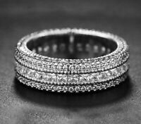 4.50 ct Princess Cut Created White Gold Eternity Wedding Band Ring