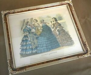 Victorian Godey's Fashion Print Ornate Frame 1859 Antique Womens Dress 9 x 11
