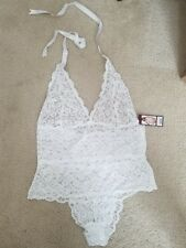 White Lace Halter Teddy Plus SIZE OS Queen  NWT!