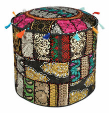 Indian Vintage Patchwork Ottoman Pouf Handmade Embroidered Round Pouffe Cover