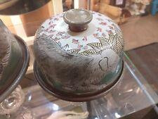 M & J Mosse Llanbrynmair Sgraffito Old English Sheepdog butter dish