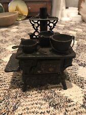 Antique Crescent Cast Iron Stove Oven With Pots 1800s. Salesmen Sample