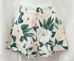 Billabong Salty Blond Denim Shorts Size 29 Blue Pink Floral High Waist New NWOT