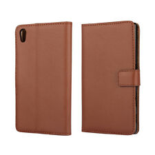 Brown Genuine Leather Business Wallet Flip Case Cover Stand For Sony Xperia XA