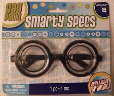 Smarty Specs Nerd Eye Glasses Round Black Frames Gag Gift Costume Dress Up