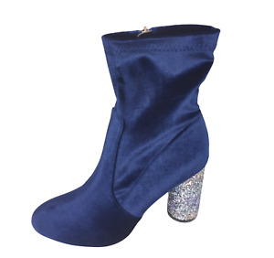 Womens Ladies Blue Velvet Glitter High Heel Party Shoes Ankle Boots Size 6 New