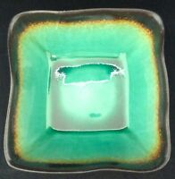 "Baum Galaxy Jade 6"" x 3"" Soup Cereal Bowl Wavy Square Green Brown 2007 FR SHP"