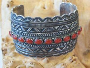 Old Pawn Sterling Silver & Coral Navajo Wide Cuff Bracelet - 82.9 grams