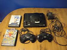 Sega Mega Drive Schwarz Spielekonsole (PAL) + 2 Controller + 2 Spiele